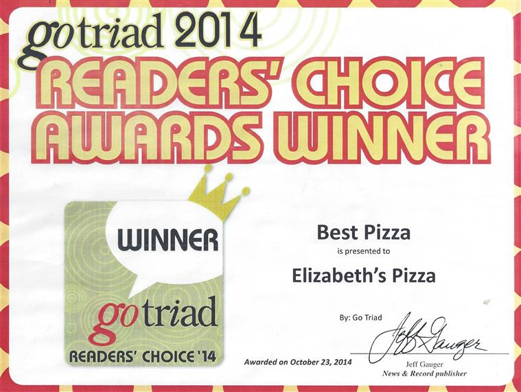 gotriad 2014 readers' choice award winner best italian elizabeth's pizza