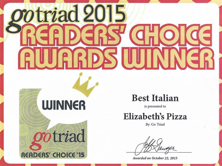 gotriad 2015 readers' choice award winner best italian elizabeth's pizza