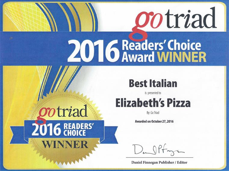 gotriad 2016 readers' choice award winner best italian elizabeth's pizza