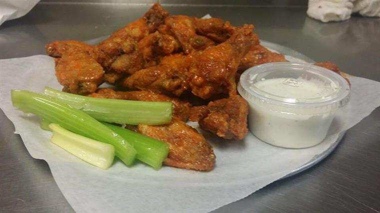wings, celery and dipping sauce