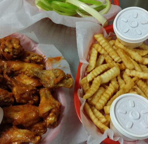 wings, celery and french fries