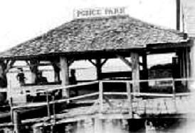Vintage photograph of Down the Hatch gazebo on docks