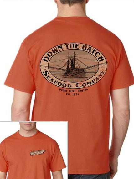 Orange down the hatch seafood company tee shirt on male