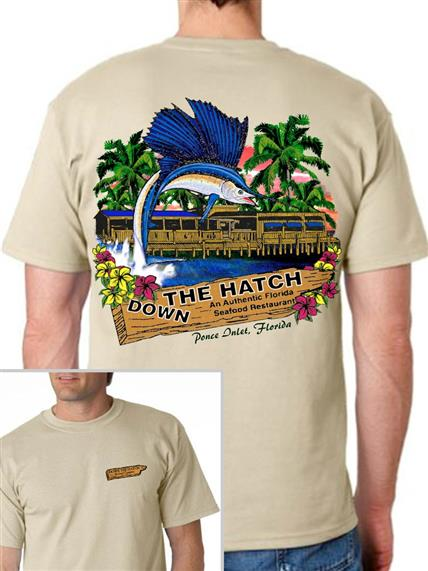 Down the hatch beige tee shirt on male