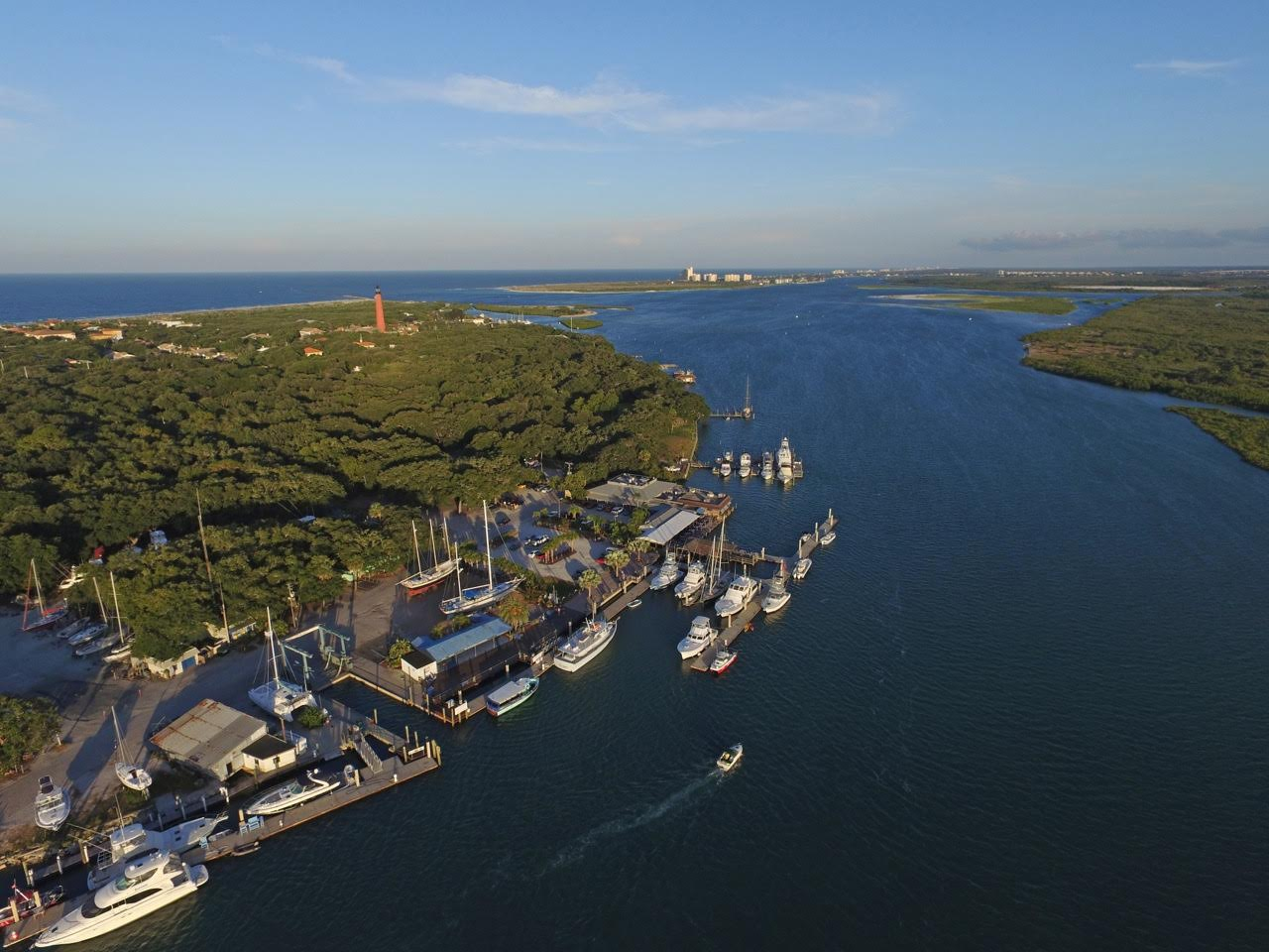overhead shot of inlet and marina