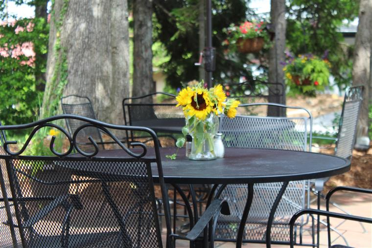 table outside with a flower in the middle for decoration