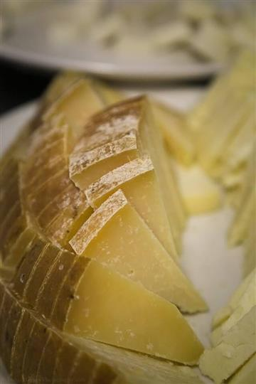 slices of pecorino cheese