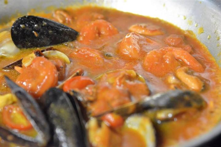 shrimp and mussels in a bowl
