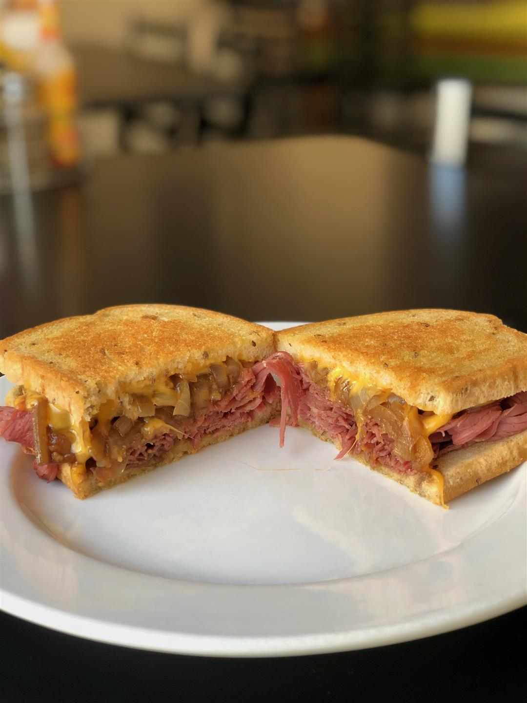 reuben sandwich cut in half