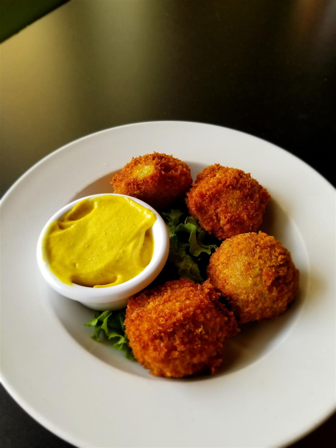 hush puppies with mustard for dipping