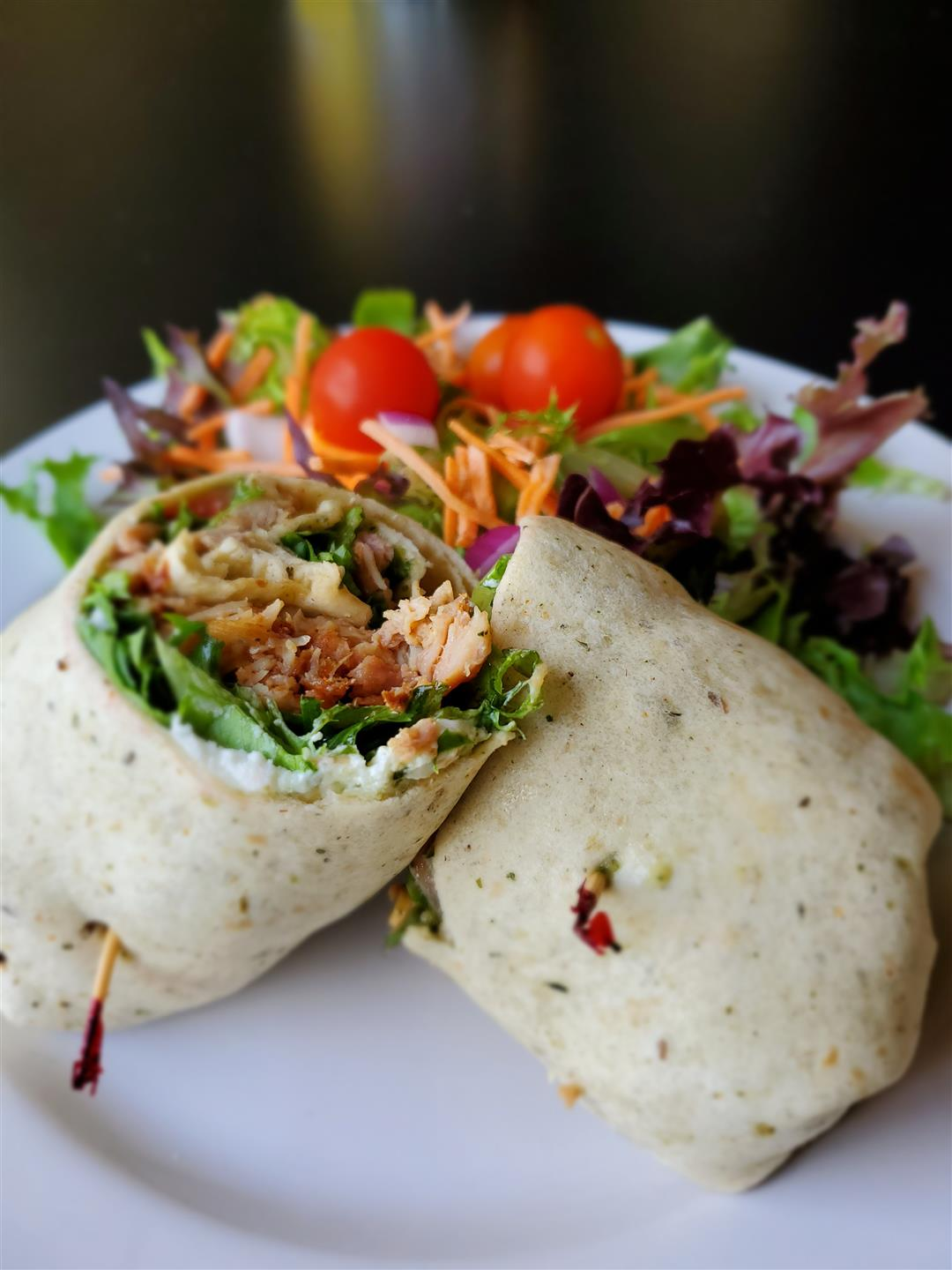 chicken wrap with side salad