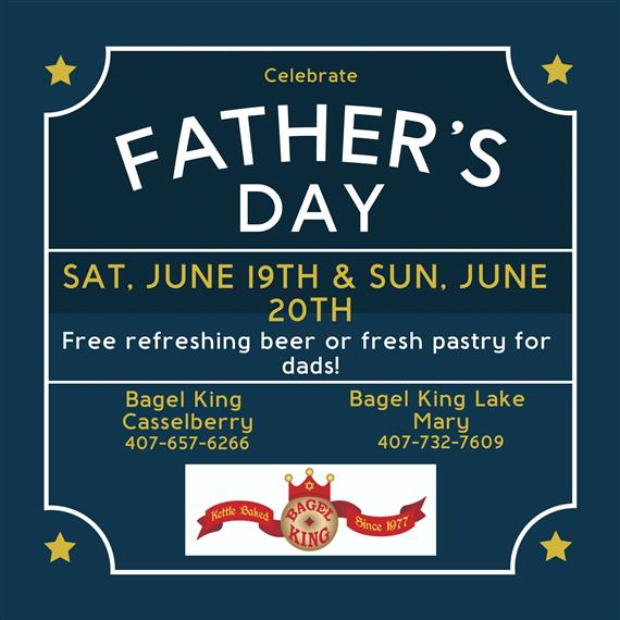 Happy Fathers Day Saturday June 19th and June 20th. Free refreshing beer or fresh pastry for dads!