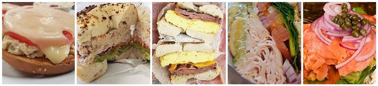 Five side by side images of various bagel sandwiches
