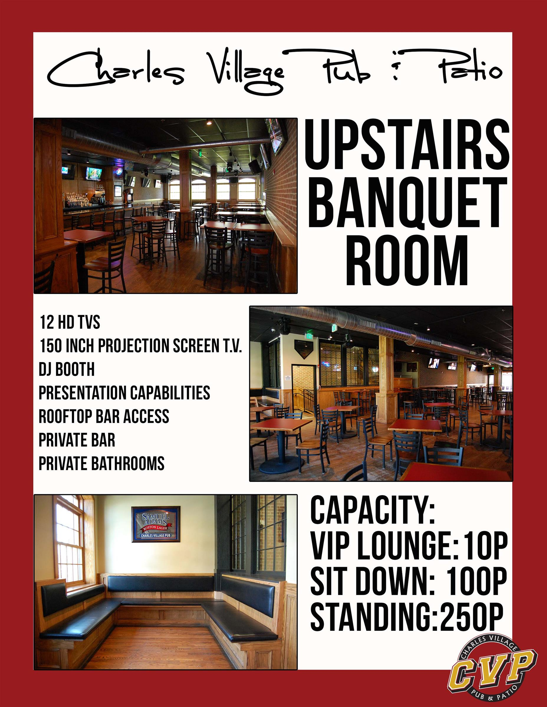 charles village pub and patio. upstairs banquet room. 12 hd tvs 150 inch projection screen t.v. dj booth presentation capabilities rooftop bar access private bar private bathrooms. capacity: vip lounge: 10p sit down: 100p standing; 250p