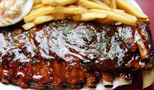 barbecue ribs with a side of french fries
