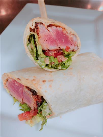 wrap filled with steak