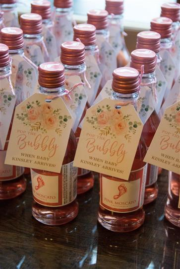 glass bottles that say bubbly when baby kinsley arrives