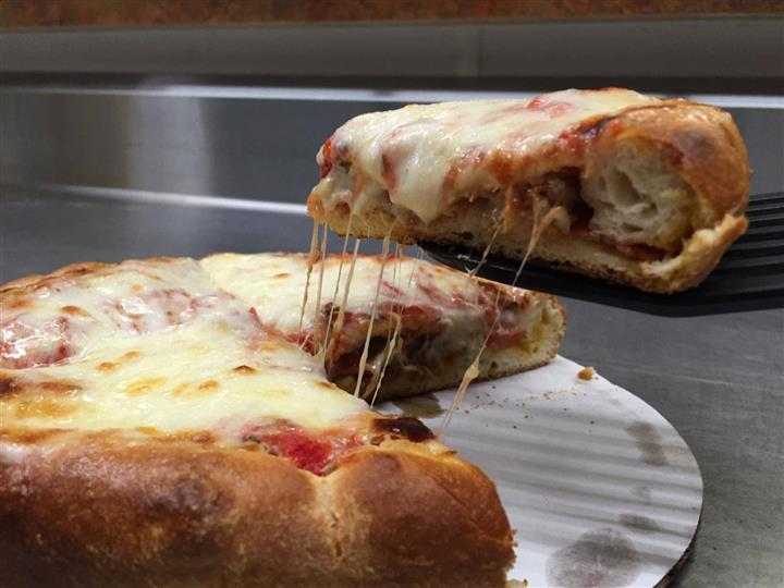 A stuffed cheese pizza