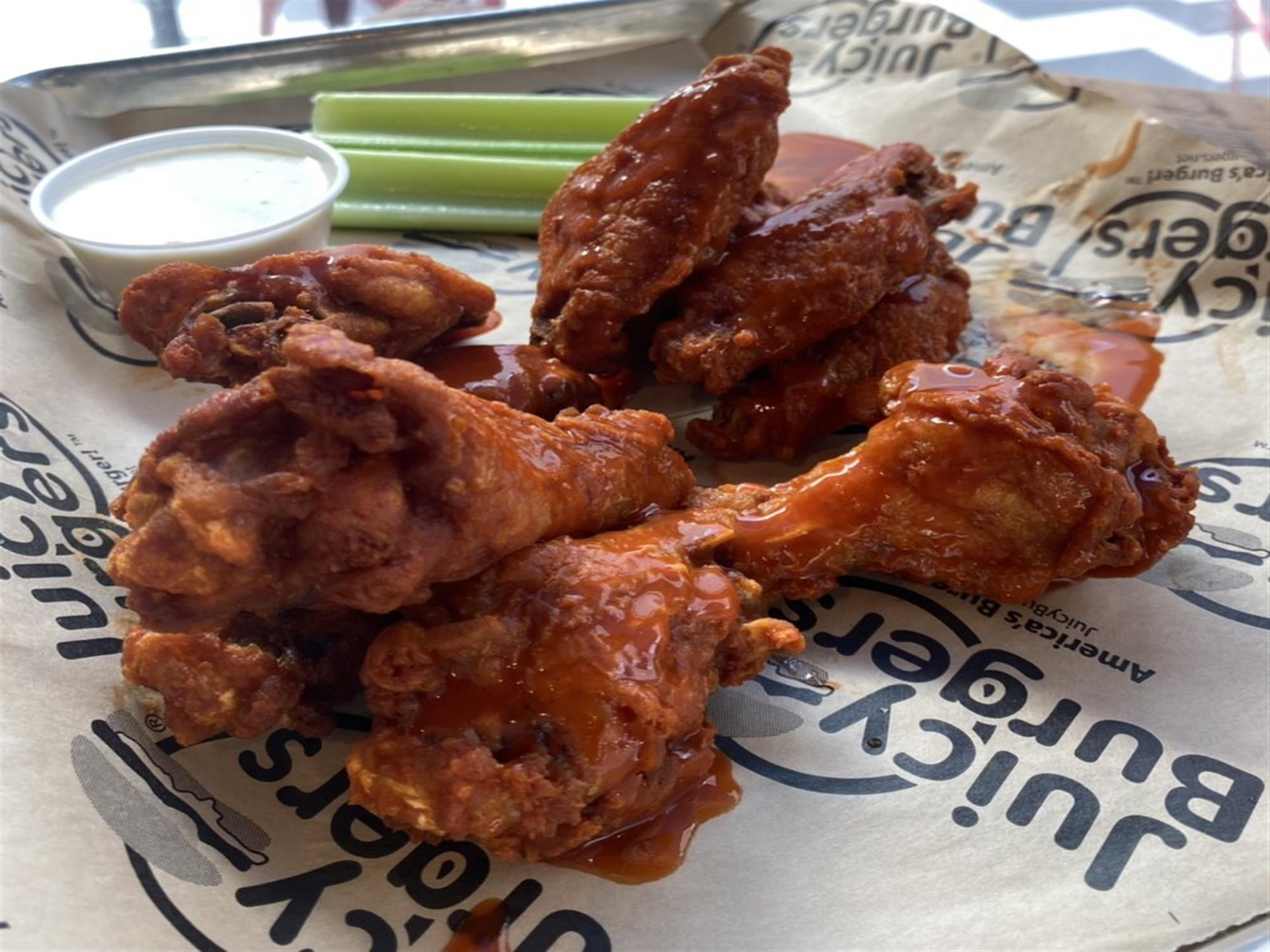 Wings with ranch and celery