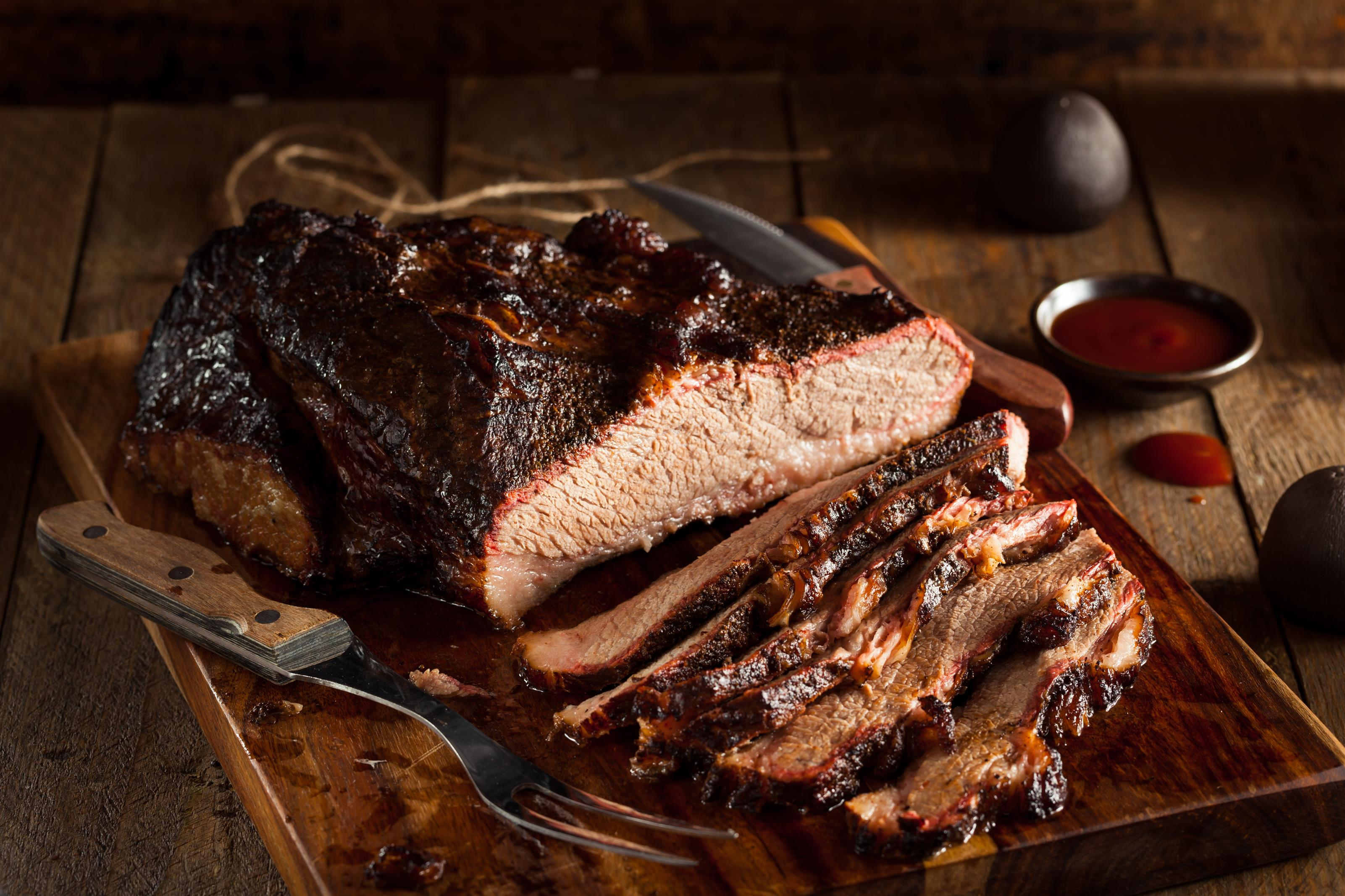 Smoked slab of meat sliced thinly