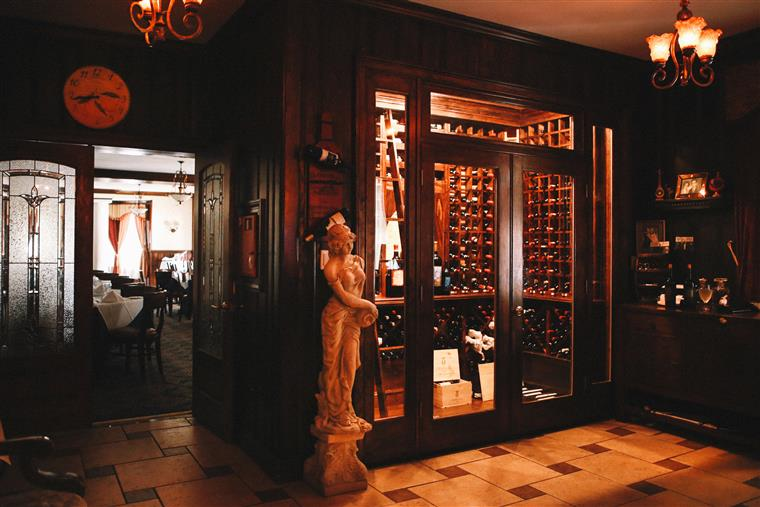 statue next to wine cellar