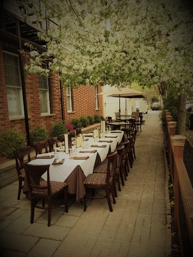 outdoor seating area of a long table with 12 seats and place settings