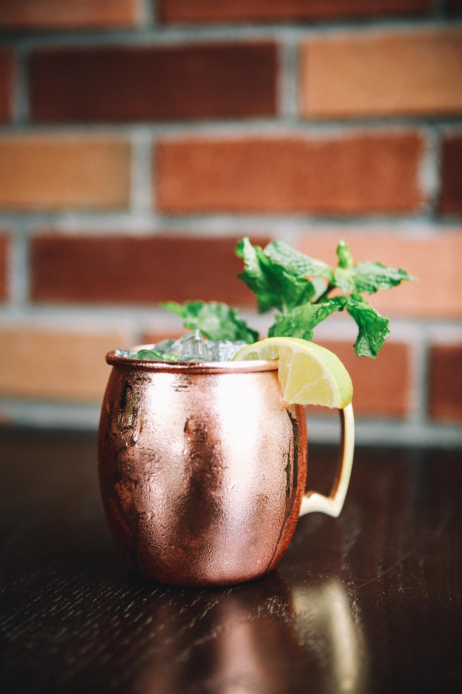 moscow mule in copper mug