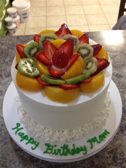 birthday cake with fruit on top
