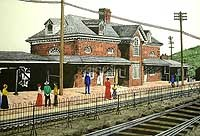 drawing of a train depot