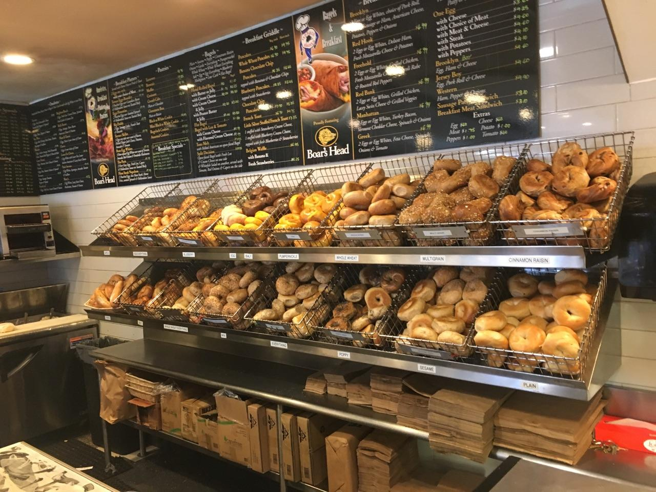 Several baskets of different flavor bagels