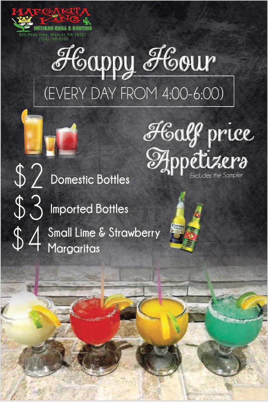 Happy hour: every day from 4-6 pm. Half price appetizers (excludes the sampler). $2 domestic botles, $3 imported bottles, $4 small lime & strawberry margaritas