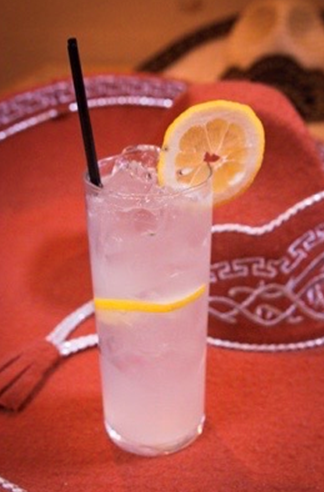 clear alcoholic drink with lemon slices