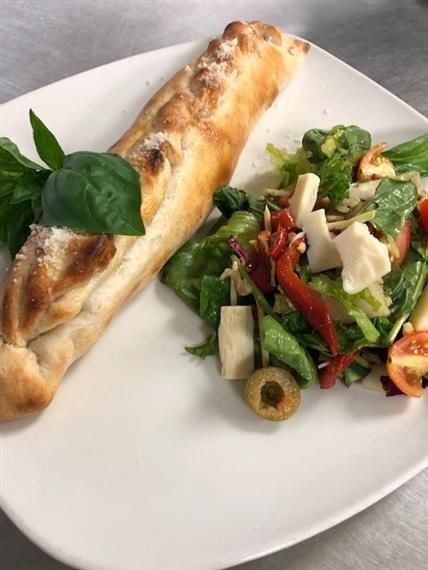 salad with a baguette