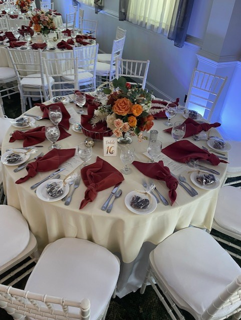 table set up for guests