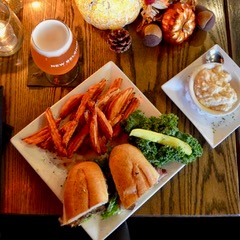 sandwich and sweet potato fries