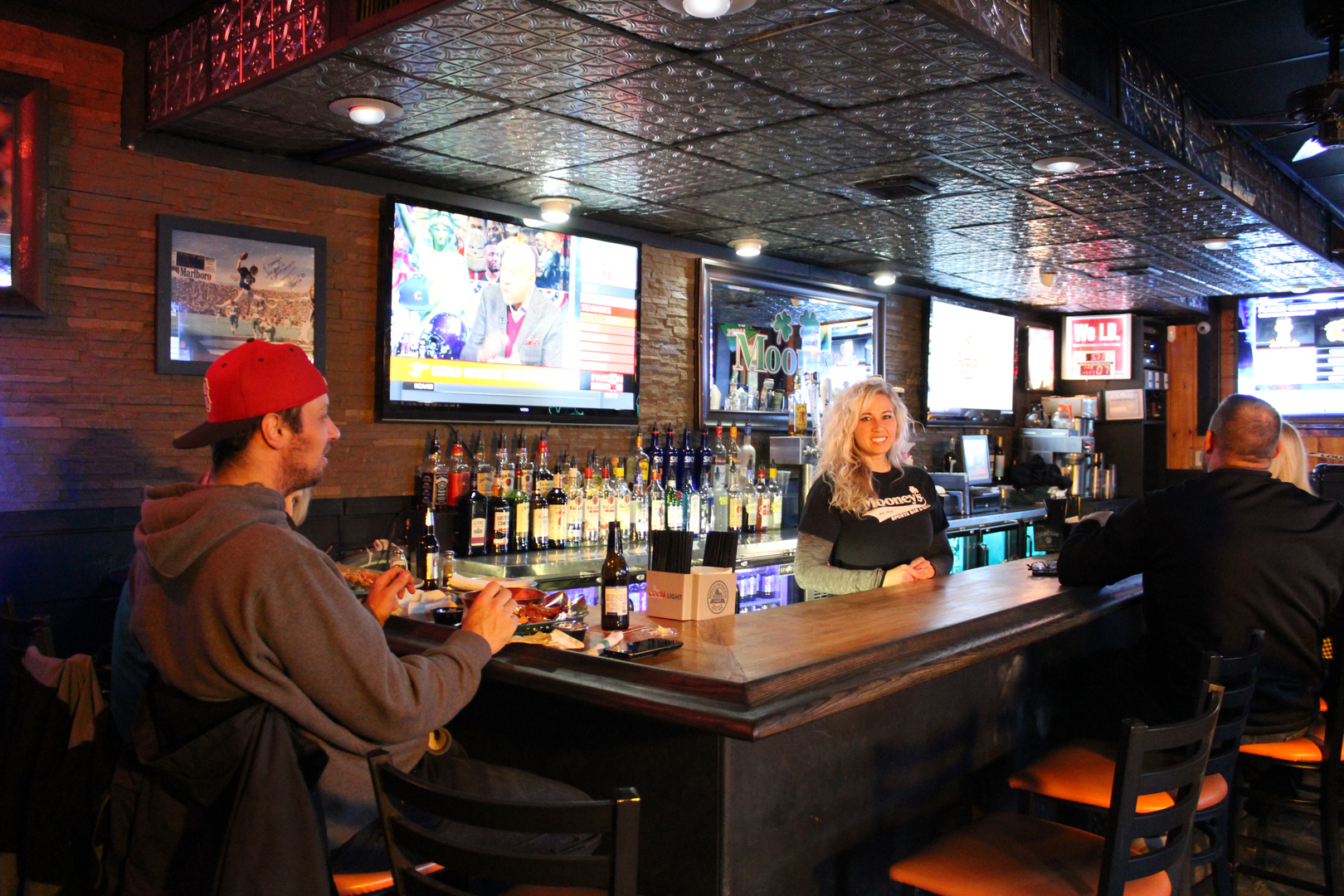 Depew Bar with customer sitting and drinking