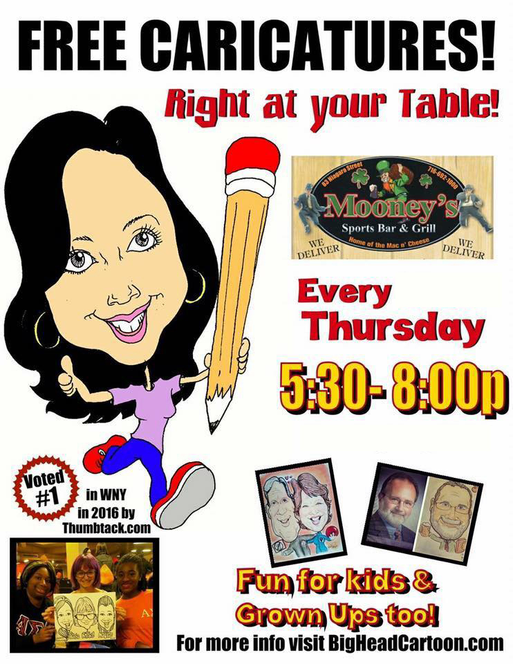Free caricatures right at your table! Every Thursday 5:30pm to 8:00pm.