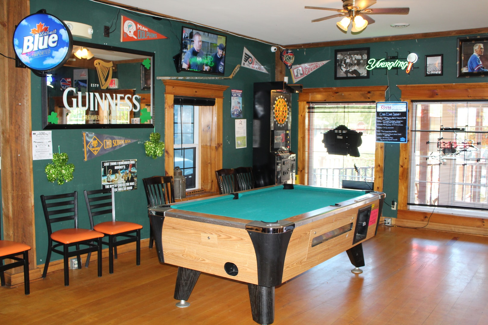 LeRoy Pool Table room with flags on the walls